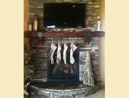 Reclaimed Cherry Fireplace Mantel Scarf Joint