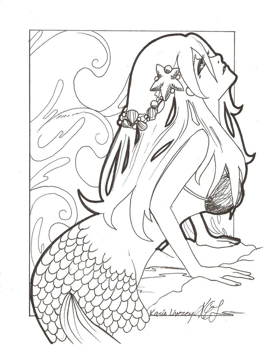 coloring pages anime mermaid drawing mermaid