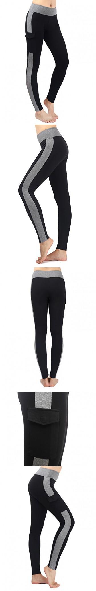 Neonysweets Womens Yoga Pants Tights Running Fitness Pants Leggings Black Gray S