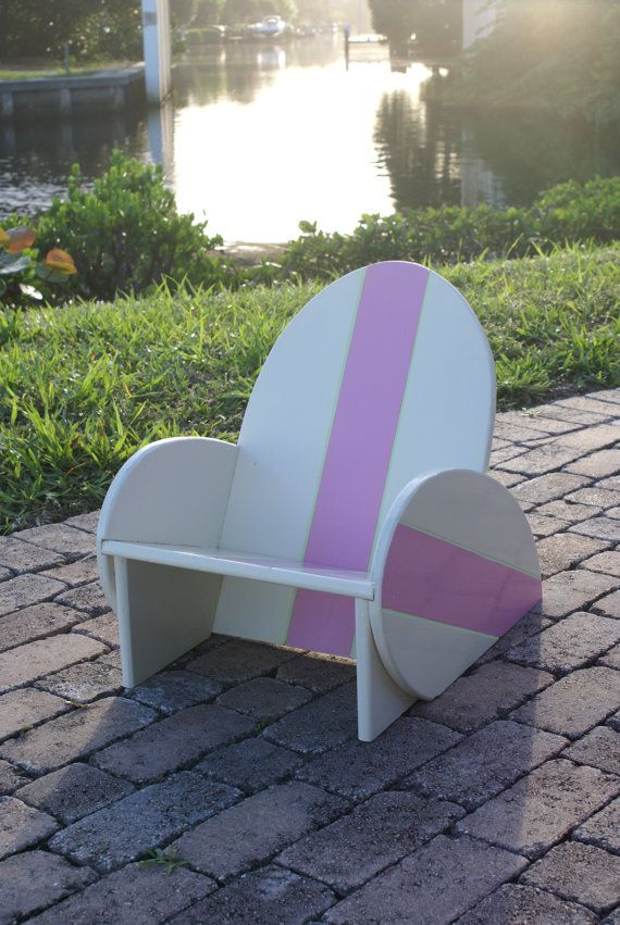 Kids Surfboard Chair with Pink stripe, nautical nursery ...