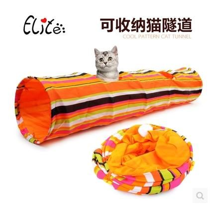 Hot Sale Stripes Cat Play Tunnel Colorful Collapsible Bull Cloth
