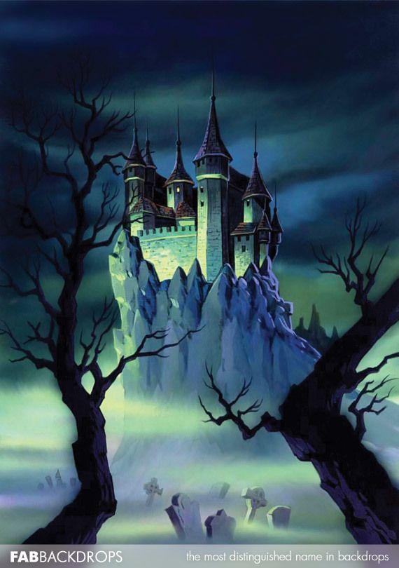 Fab Vinyl Spooky Castle Halloween Backdrop Halloween Backdrops - halloween backdrop