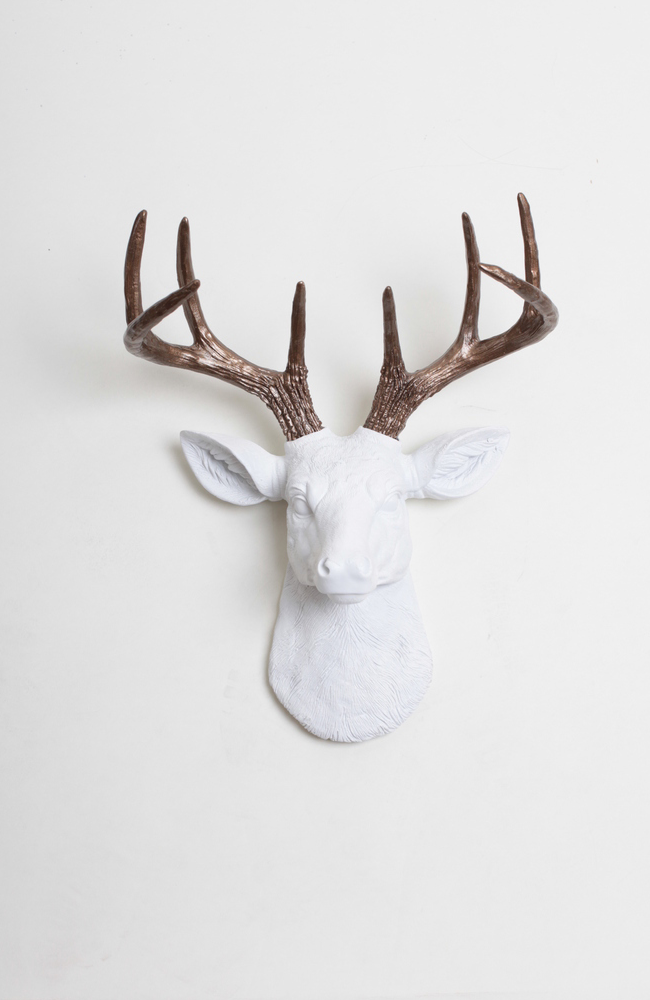 The Mini Lydia Faux Deer Head Wall Art White Resin Stag W Bronze Antlers Deer Head Decor Faux Deer Head Deer Decor