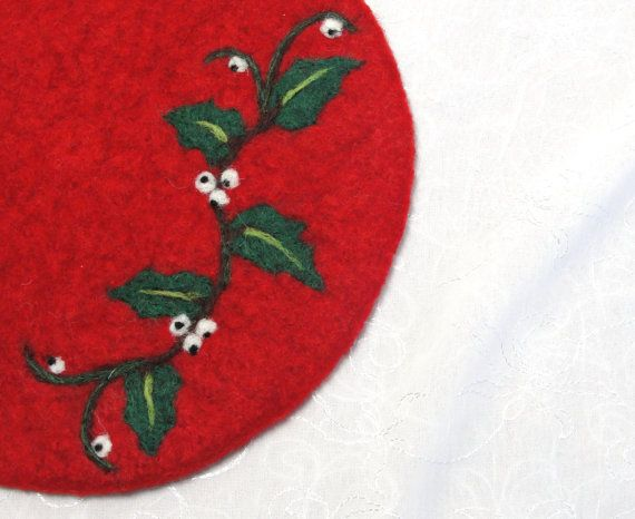Wool Felted Hotpad/Trivet with Needle Felted Holly by Susietoos, $30.00