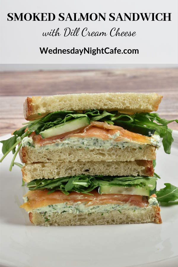 Smoked Salmon Sandwich with Dill Cream Cheese Smoked Salmon Sandwiches with Dill Cream Cheese are an elegant gourmet  choice for summer picnics and outings or when it's just too hot to turn  on the stove to cook dinner. With smoked salmon, dill cream cheese,  crunchy cucumbers, and peppery arugula, these sandwiches are a little  extra special over your ordinary brown-bag lunch.