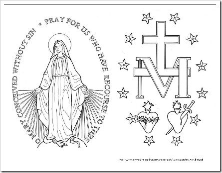 immaculate heart of mary miraculous medal coloring page formatted to have the front and