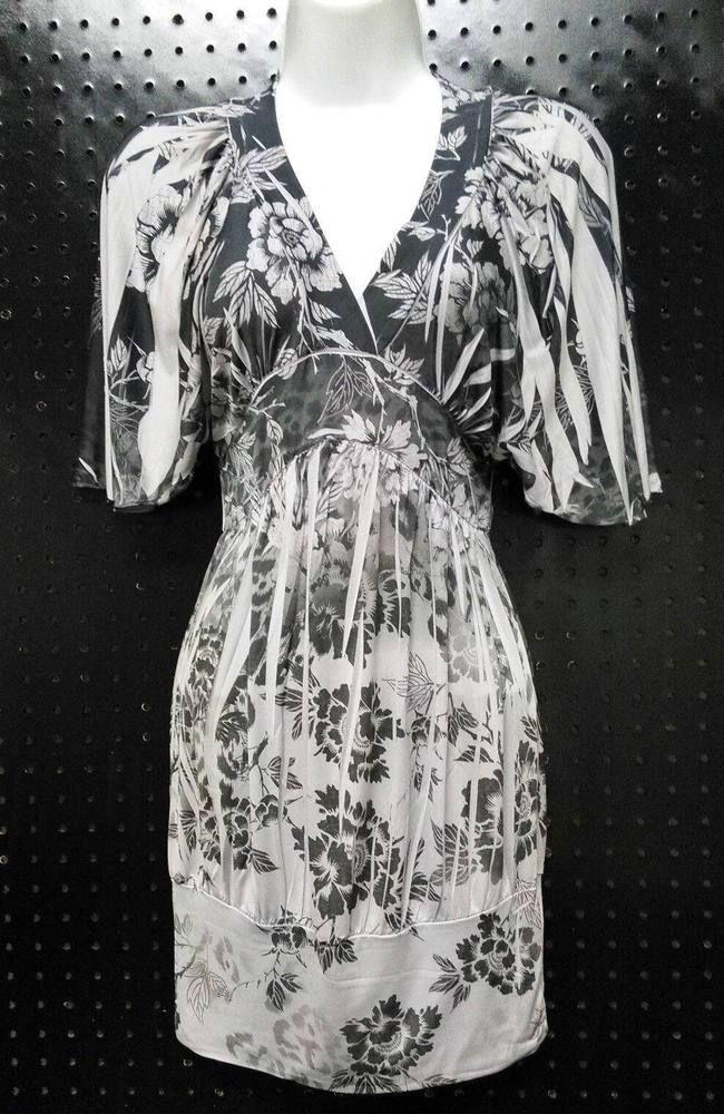 7edf14673ba52 Subliminal Gray Floral Dress V-Neck empire Waist Stretchy Size Small B236   false