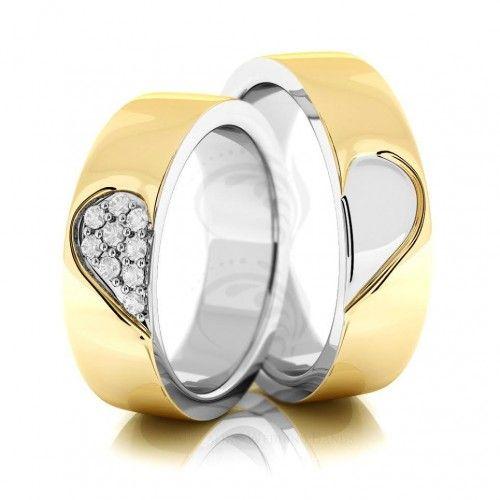 two tone 10k yellow white yellow gold polish his hers wedding rings 018 carat - His Hers Wedding Rings