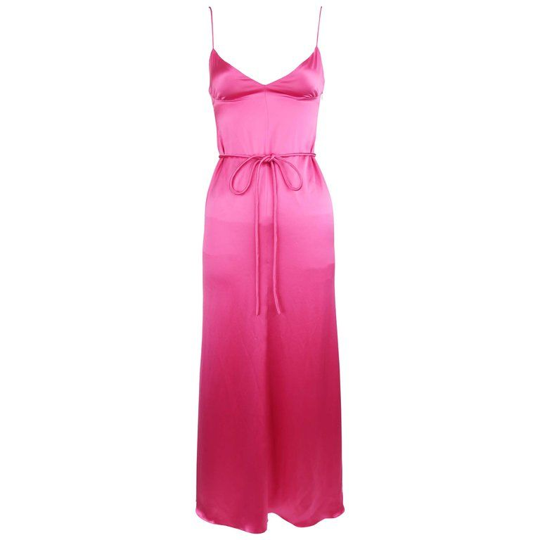 3653c93570a Vintage Valentino Pink Charmeuse Gown - Size 4 For Sale