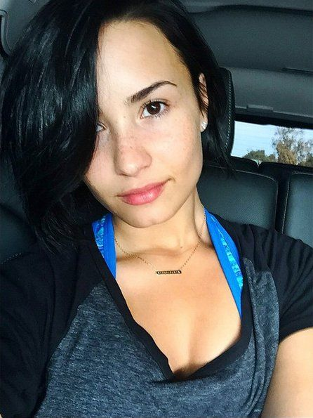 """Pin for Later: Gigi Hadid and More Celebrities Embrace the Makeup-Free Selfie Demi Lovato Demi let her freckles shine in a """"No Makeup Monday"""" selfie."""