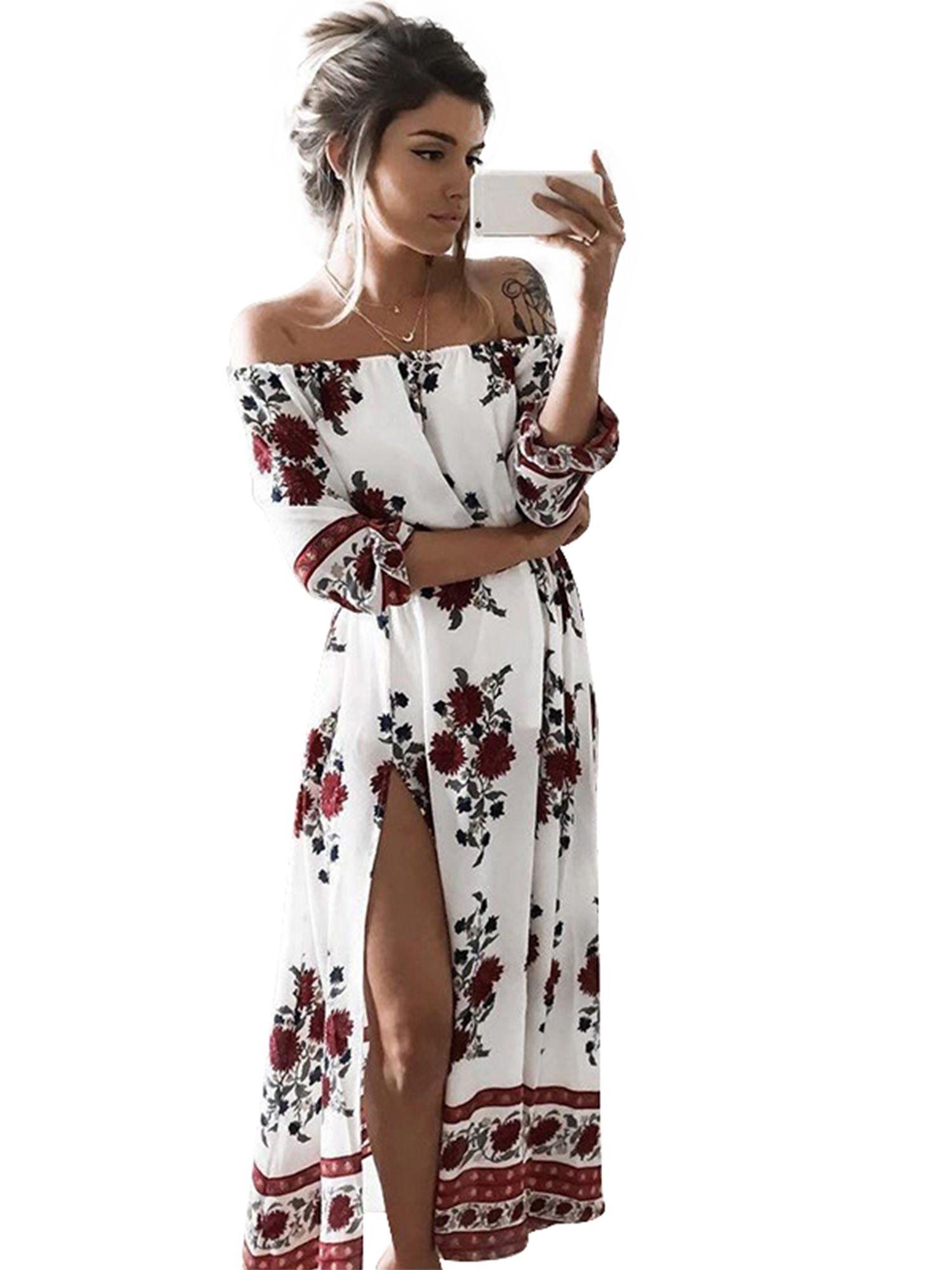 Wodstyle Women Off Shoulder Floral Evening Party Split Maxi Dress Walmart Com In 2021 Boho Dresses Long Floral Print Dress Summer Women S Fashion Dresses [ 2000 x 1500 Pixel ]