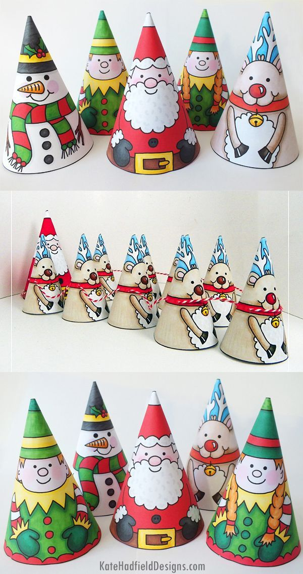 Colour In Christmas Cones - easy Christmas craft for kids! Just print, cut out and decorate to create these cute cone characters! (They look great as Christmas tree decorations too!)