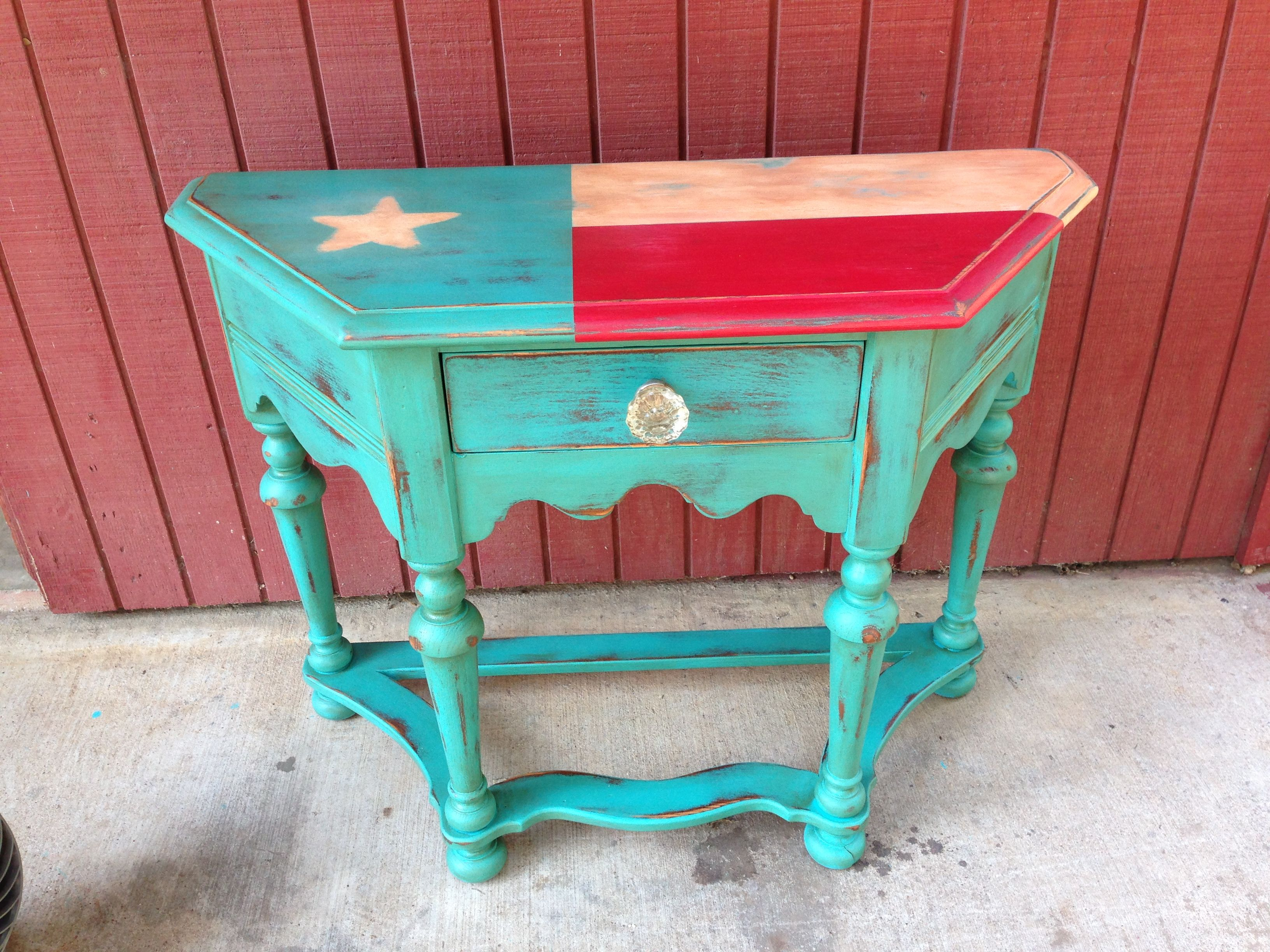 Painted Texas Flag furniture up do from Madolly s