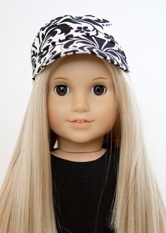 American Girl Doll hat military style black and white hat #dollhats