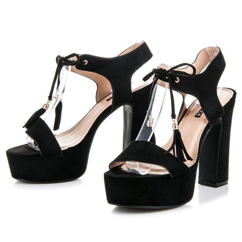 5338db6e2612 Vysoké sandále čierne 5A5699B