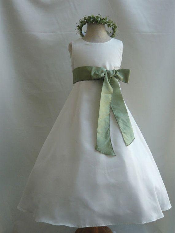 e74b2eded253 Flower Girl Dress IVORY Green Sage CO5 Wedding Children Easter ...