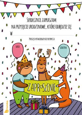 Zaproszenie Urodzinowe Do Wydruku Z Leśnymi Zwierzętami Zaproszenie