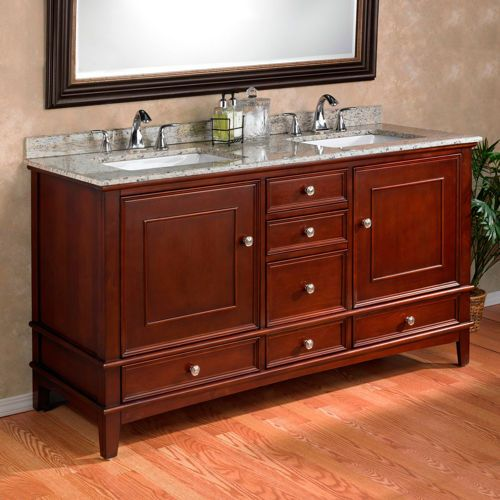 Double Sink Vanity With Granite Countertop. Manorhaven Double Sink Vanity Mission Hills with Brazilian Giallo Cecilia Granite  Countertop like the rectangular sinks not granite costco vanities Shop Business Delivery Pharmacy Services Photo