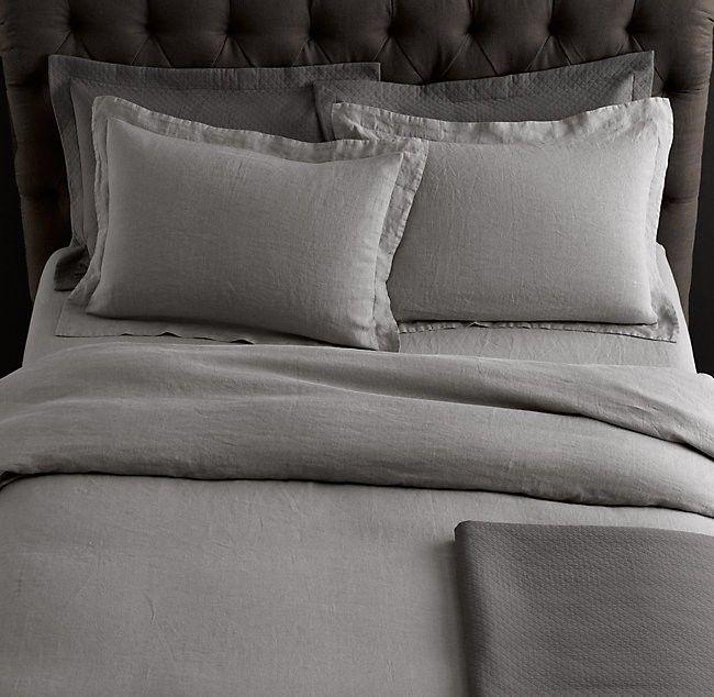Restoration Hardware Belgian Linen King Duvet Silver Sage With Down Comforter