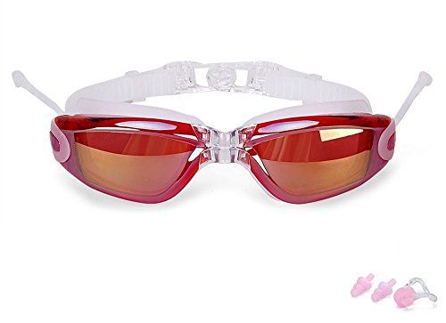 FinalZ Swim Goggles Swimming Goggles with Ear Plugs  UV Protection Anti Fog  Best Adult Swim Goggles Claret * To view further for this item, visit the image link.
