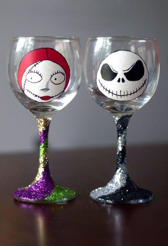 jack and sally nightmare before christmas wine glasses