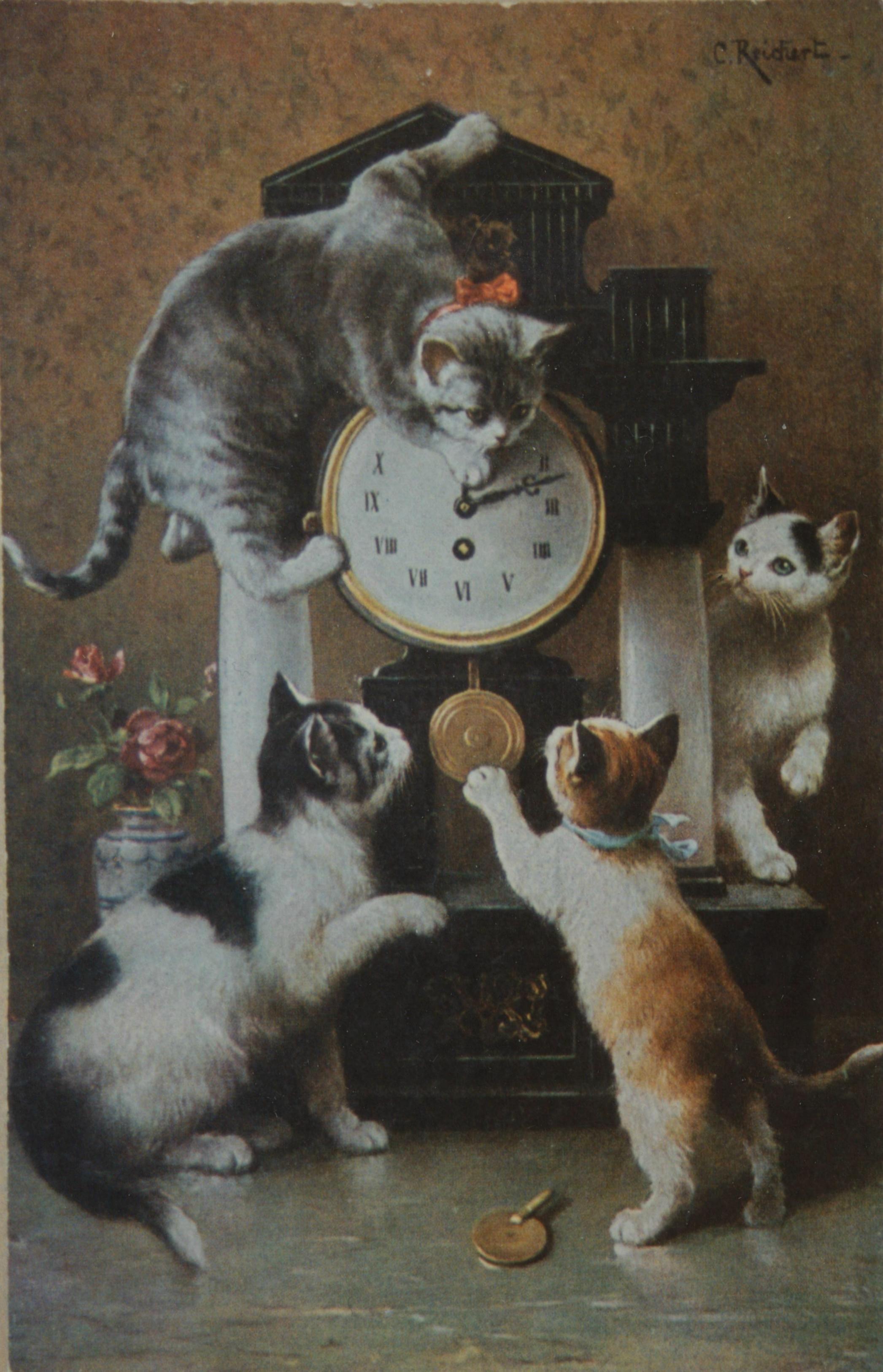 Pc Poezen Klok C Reichert 1910 5331428236 O Cats Kittens Cat Kitten Vintage Retro Feline Photo Art Cats Illustration Cat Painting Cat Art