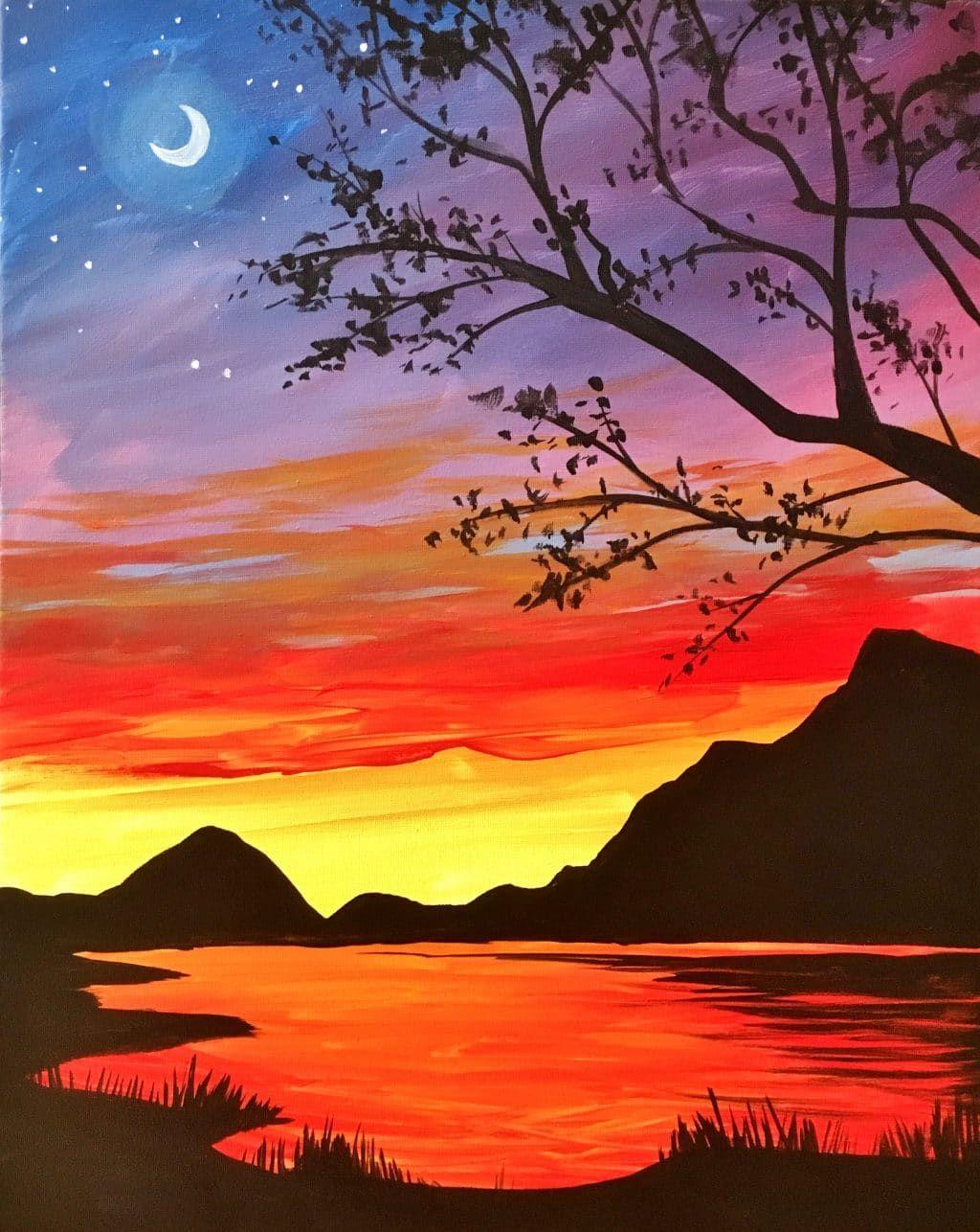 Paintings Sunrise Art Painting Mountain Sunset Painting Sunset