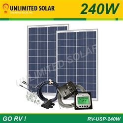 Rv Solar Power Kit 240 Watt 12 Volt Unlimited Solar Go Rv Usp Series 2 X 120 Watt Rv Solar Power Solar Power Kits Rv Solar