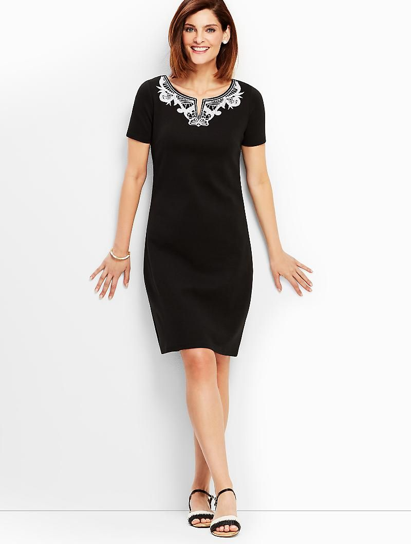 79 50 Pull Off The Lace French Interlock Embroidered Shift Dress Talbots Embroidered Shift Dress Shift Dress Dresses [ 1057 x 800 Pixel ]