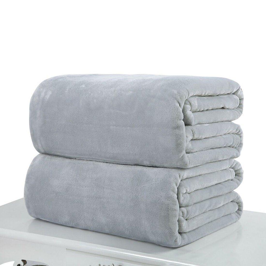 Flannel fleece blanket  Useful High Quality Super Soft Flannel Plain Bedspread Blanket