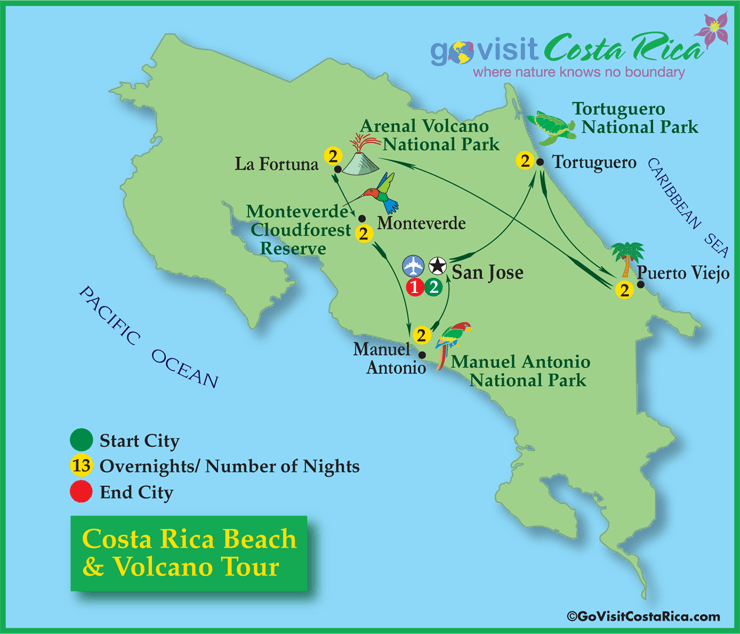 Costa Rica Beach Volcano Tour 14 Days 13 Nights