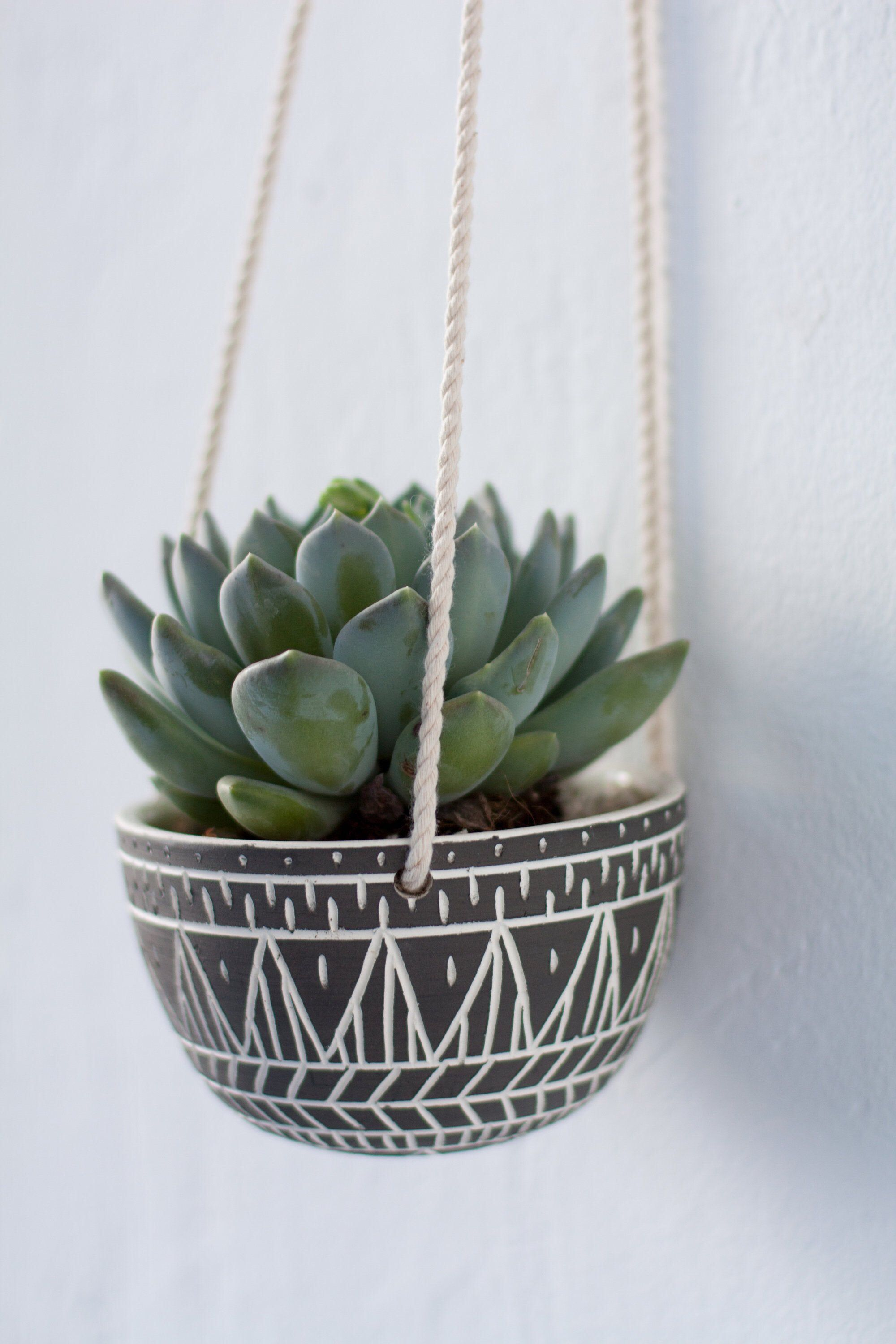 Hanging Ceramic Planter With Geometric Pattern Wall Succulent