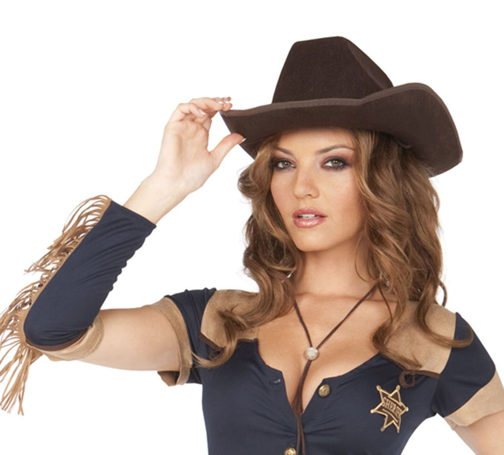 Sexy Women's Western Cowgirl Hat Halloween Party Show Costume ...