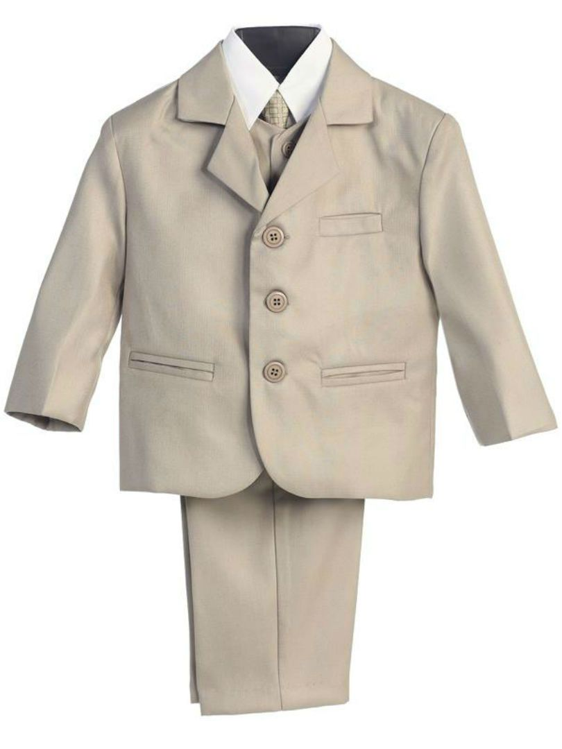 5 Piece Ivory Suit with Shirt Vest and Tie Size 5