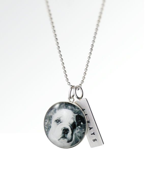 Love My Pet Custom Pet Photo Necklace Sterling Silver