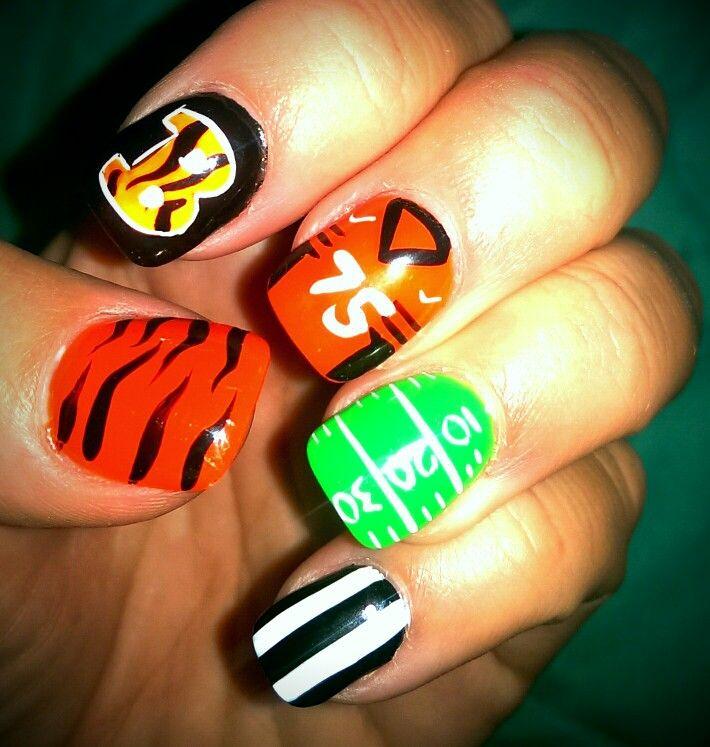 My Cincinnati Bengal Nails! Who Dey!!   Nails   Pinterest   Bengal ...
