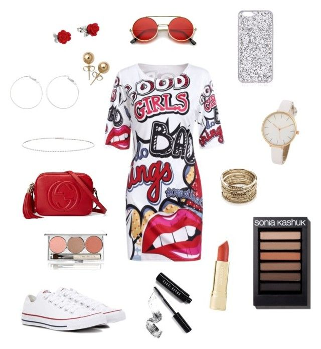 """""""❤️🌹RED🌹❤️"""" by hayatbabay on Polyvore featuring WithChic, Converse, Gucci, Sole Society, Bling Jewelry, Suzanne Kalan, Bobbi Brown Cosmetics and Chantecaille"""
