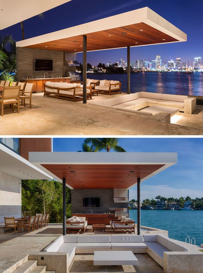 Choeff Levy Fischman Design A New Home For The Miami Waterfront Modern Outdoor Spaces Modern Outdoor Kitchen Modern Outdoor Living