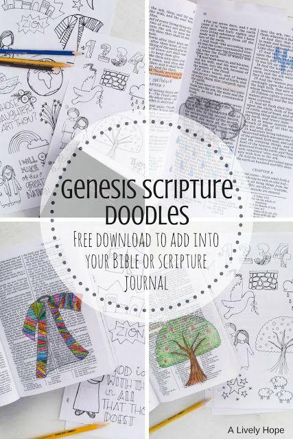 Genesis Scripture Doodles (Free Printable!)   Bible journaling ...