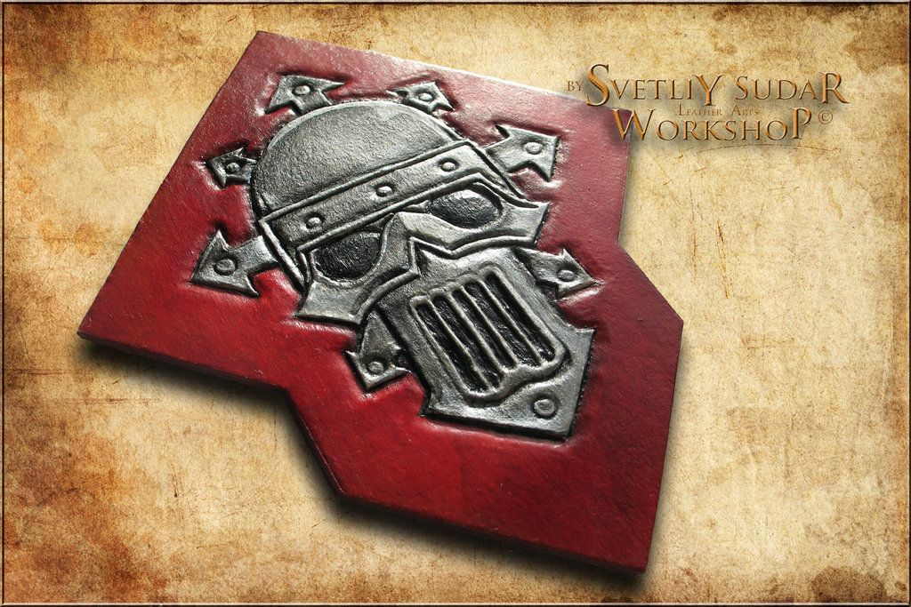 WIP: vegetable tanned leather panel Iron Warriors by Svetliy-Sudar on DeviantArt