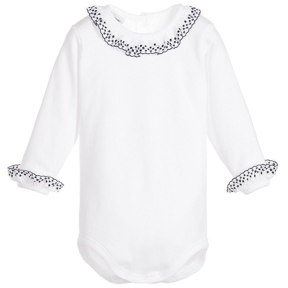 b8aa1b8ba BABIDU White Cotton Baby Bodysuit with Blue Ruffles | Babidu Baby ...
