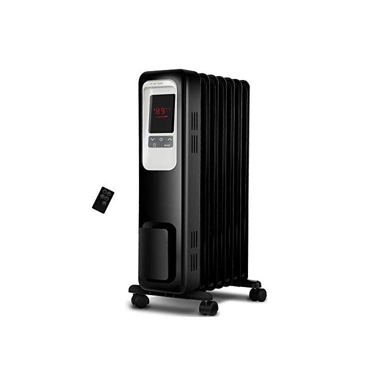 Aireplus Space Heater 1500w Oil Filled Radiator Electric Heater With Digital Adjustable Thermostat 24 Hrs Timer Remote Portable Oil Heater With Tip Over Overheat Protection For Full Room Indoor