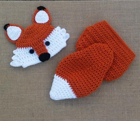 Crochet fox Hat and Diaper Cover 352e26909ba