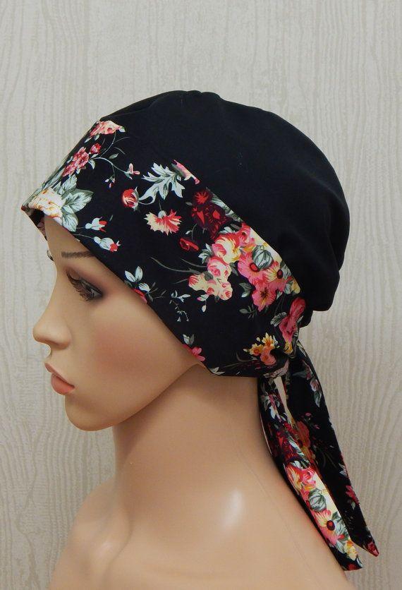 4c6d7566bcf Black Floral Chemo Cap Cancer Headwear Cancer Head by kristine1986 ...