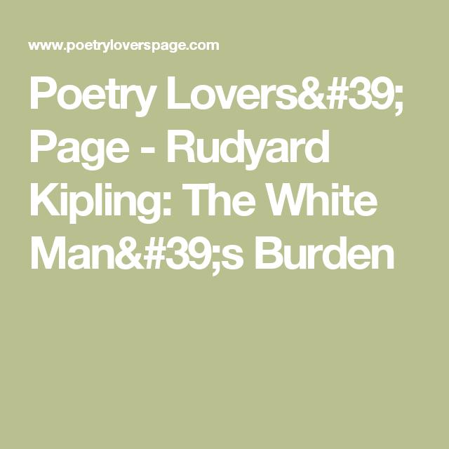 kipling poem white mans burden