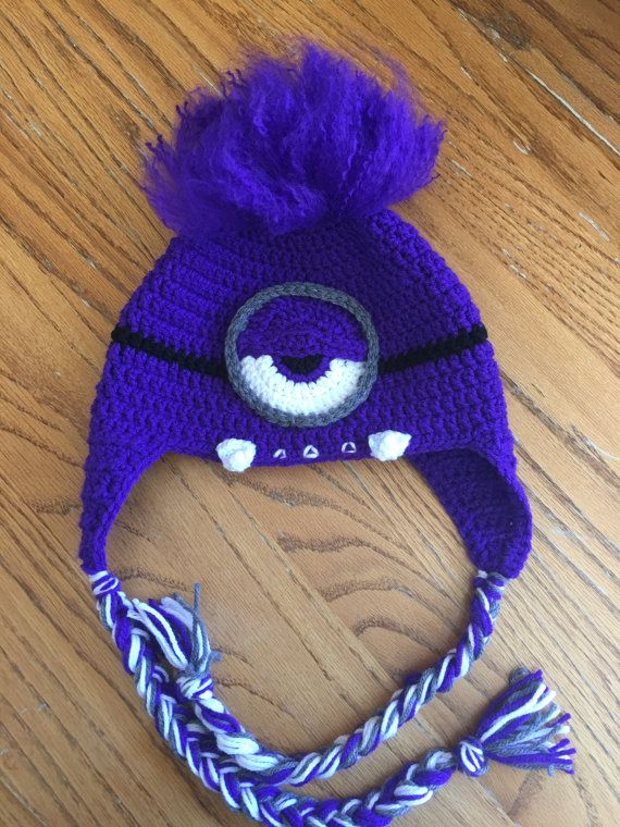 Handmade Crochet Evil Purple Minion Beanie With Teeth Ear Flaps