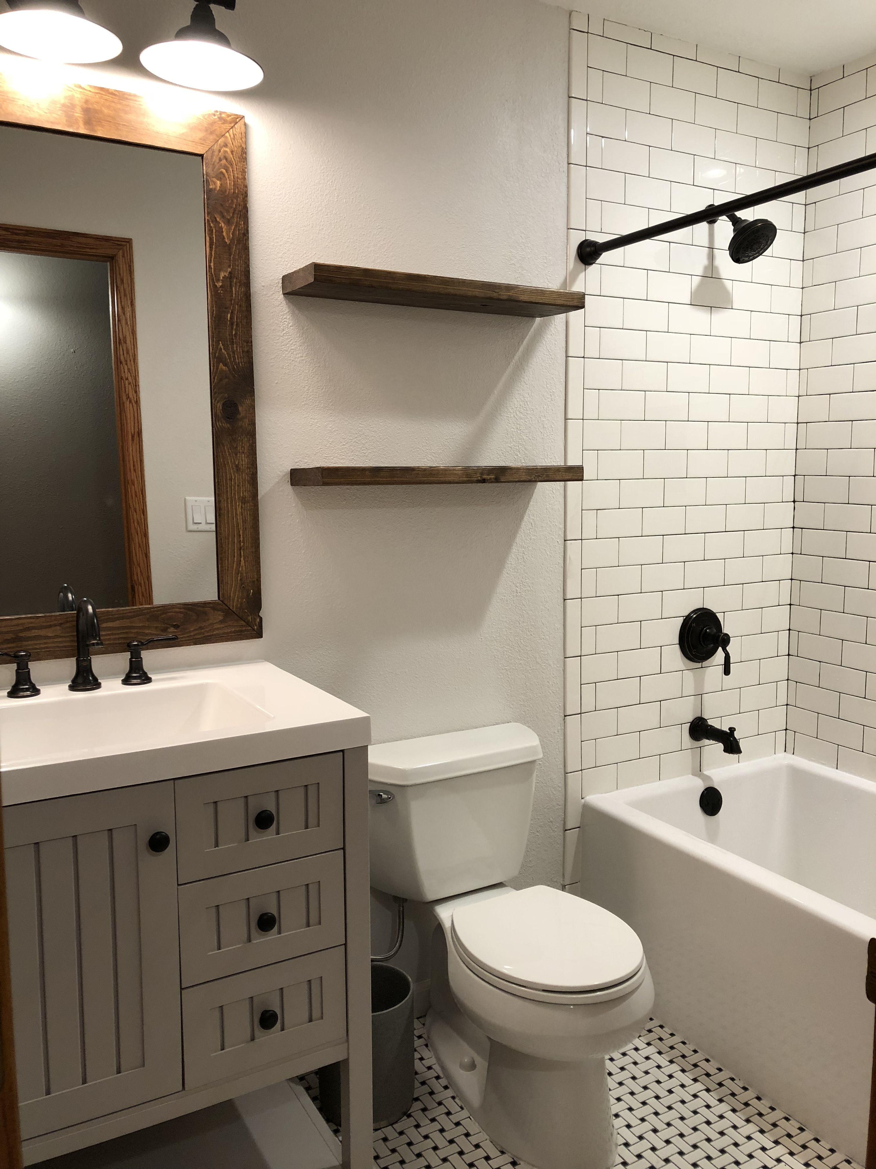 Farmhouse bathroom. Wall color Eider White by Sherwin