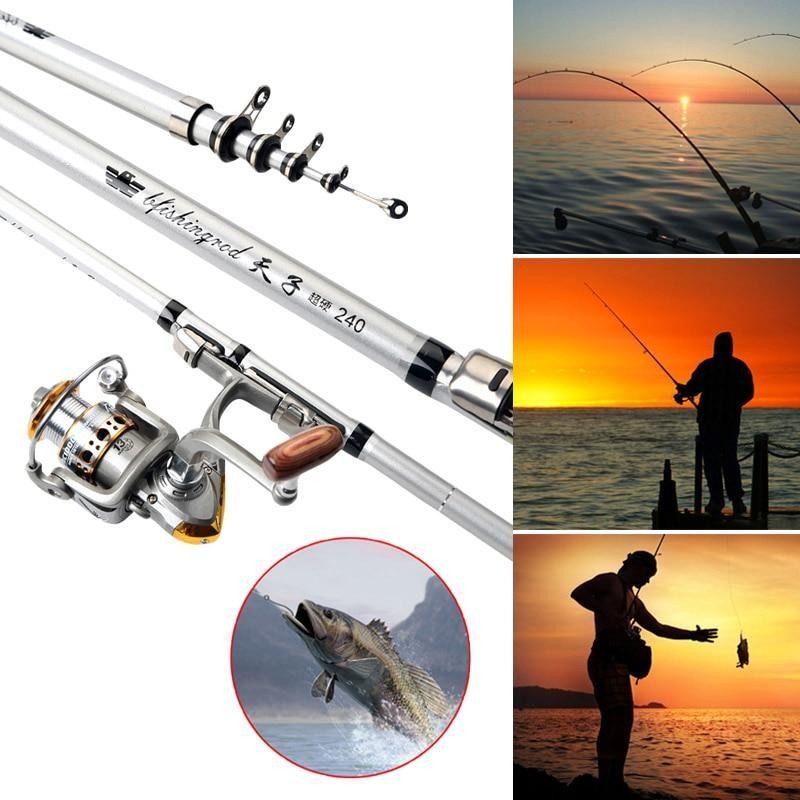 Portable Telescopic Fishing Rod Fiber Spinning Pole Hand Fishing Tackle Sea U S