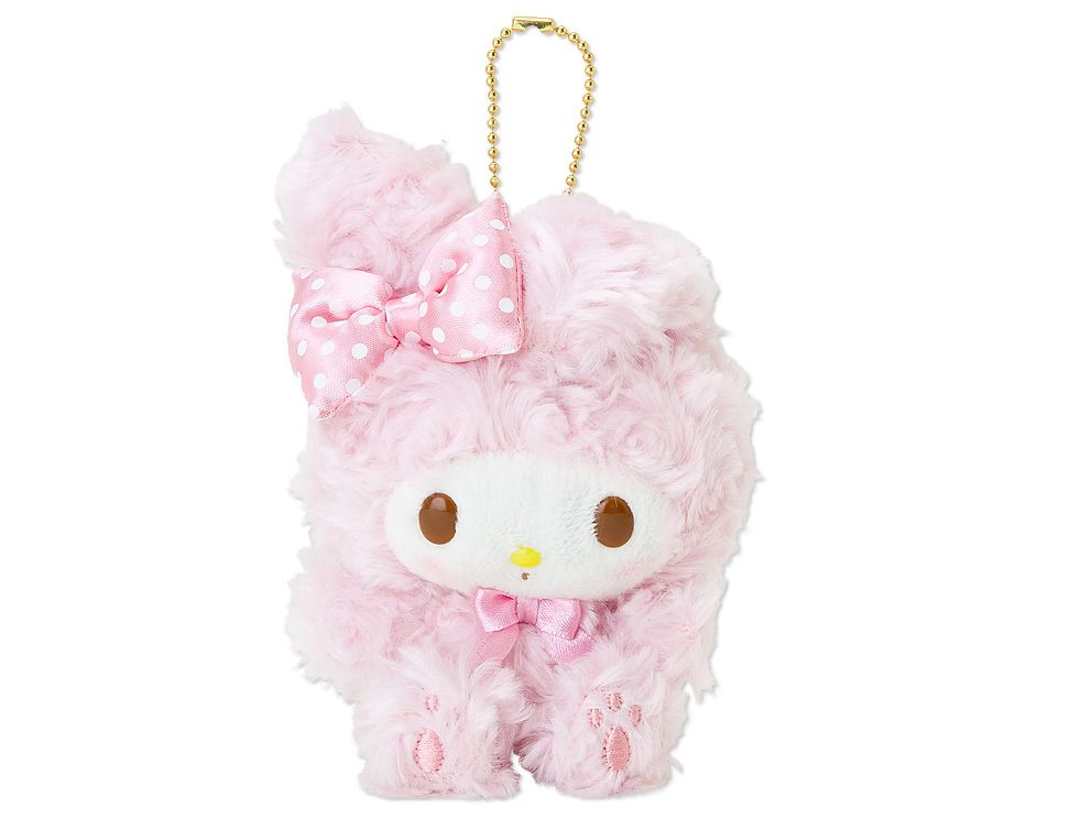 My Melody Fluffy Plush Doll Mascot Chain Key Ring SANRIO