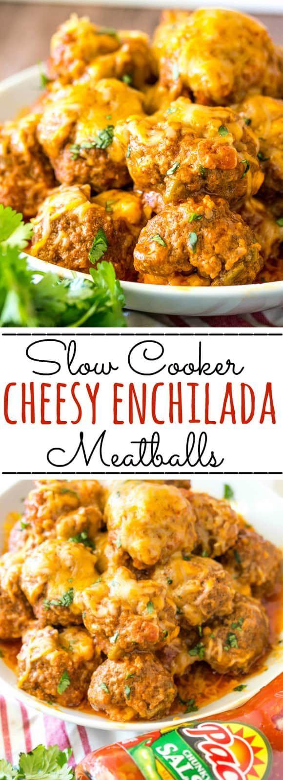 Cheesy Enchilada Crockpot Meatballs